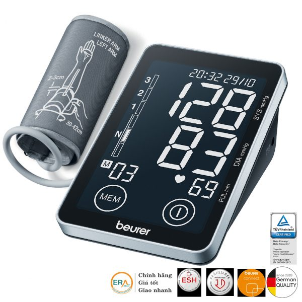 Máy đo huyết áp bắp tay cảm ứng Beurer BM58 cho kết quả chính xác, dễ dàng thao tác và đặc biệt kết nối với PC qua cổng USB với phần mềm Beurer HealthManager để xem các báo cáo kết quả trên máy tính.