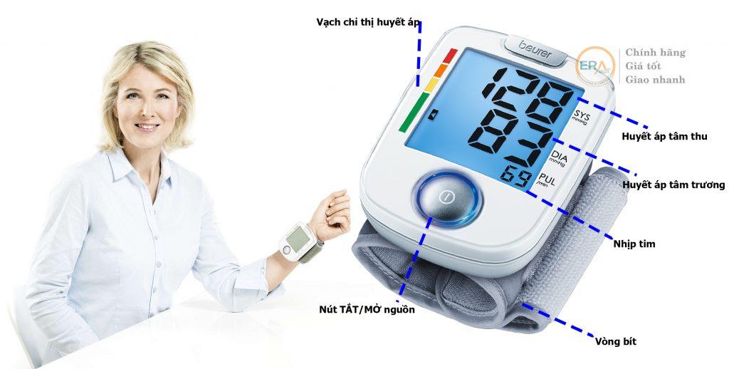 Cách đo huyết áp cổ tay, hướng dẫn sử dụng máy đo huyết áp Beurer BC44: