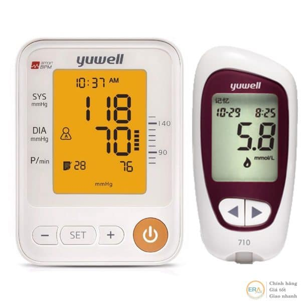 Bộ máy đo huyết áp bắp tay và đường huyết Yuwell giúp bạn nhận biết và theo dõi tình trạng huyết áp tâm trương, huyết áp tâm thu và nhịp tim một cách nhanh chóng và chính xác. Trong khi, máy đo đường huyết Yuwell Accusure710 giúp theo dõi và kiểm tra lượng đường huyết thật nhanh chóng chỉ cần lấy một lượng máu rất nhỏ