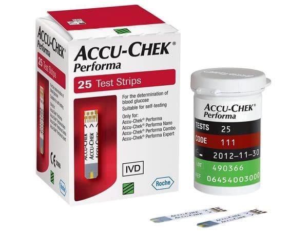 Hộp 25 que thử đường huyết Accu-Chek Performa